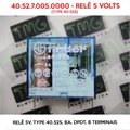 40.52.7.005.0000 5VOLTS - Relê 5V, TYPE 40.52S, 8A, DPDT, FINDER, 8 Terminais