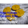 100KPf - 0,1UF - Capacitor ceramico 2KV / 2000VOLTS Capacitors Ceramic High Voltage